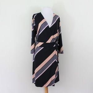 New Ann Taylor Wrap Dress Black Gray Pink Large 14